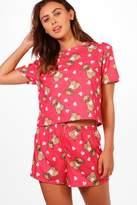 boohoo Petite Lauren Pug Print Pyjama Set