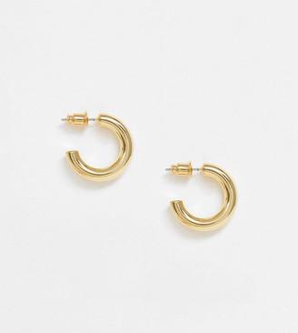 Orelia mini chunky hoop earrings in gold plated