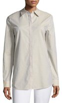 Lafayette 148 New York Brody Cabana Check Button-Front Blouse, Plus Size