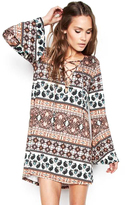 Michael Lauren Jimi Lace Up Bell Sleeve Mini Dress in Sequoia