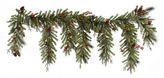 Asstd National Brand 6.5 Ft. Pre-Lit Red Berry & Ball Ornament Mixed Pine Artificial Christmas Garland with Clear Lights
