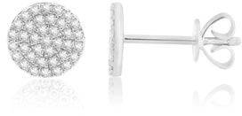 Esa 14KT Gold Micro Pave Diamond Disc Stud Earrings
