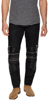 Leather Patch Slim Motorcycle Jeans