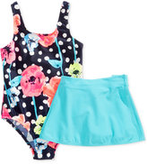 Osh Kosh 1-Pc. Floral-Print Swimsuit & Sarong, Toddler & Little Girls (2T-6X)