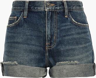 Current/Elliott The Boyfriend Rolled Distressed Denim Shorts