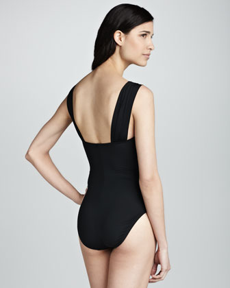 Kenneth Cole Ruched Bar-Detail One-Piece