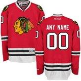 SuJe Men's Chicago Blackhawks Custom Premier Jersey Team Color Red Size M-3XL