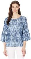 Liverpool Ruffle Bell Sleeve Popover w/ High-Low Hem (Ikat Med) Women's Blouse