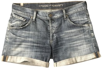 Citizens of Humanity Blue Cotton Shorts for Women