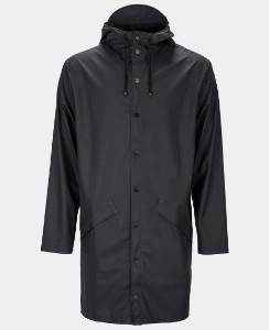 Rains Black Long Jacket - S/M / Black - Black
