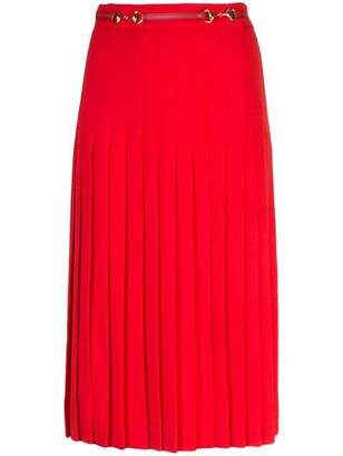 Gucci High Waisted Pleat Wool Midi Skirt With Belt