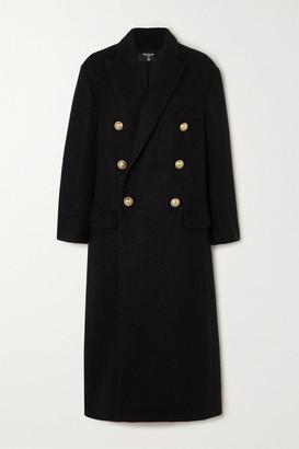 Balmain Double-breasted Metallic Wool-blend Tweed Coat - Black