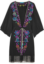 Matthew Williamson Sakura Embroidered Crepe De Chine Kimono - Black
