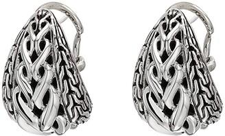 John Hardy Asli Classic Chain Link Buddha Belly Earrings (Silver) Earring