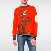 Paul Smith Men's Rust Wool Placement 'Dino' Motif Sweater