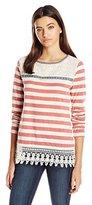 Jolt Women's Striped Sweatshirt with Lace Hem