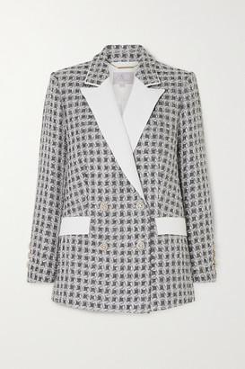 RALPH & RUSSO Double-breasted Metallic Tweed Blazer - Black