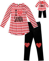 Dollie & Me Red & White Stripe 'Santa' Tunic Set & Doll Outfit - Girls