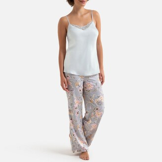 La Redoute Collections Pyjamas with Satin Cami and Printed Trousers