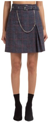 Alberta Ferretti Belted Plaid Mini Skirt