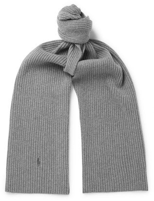 Polo Ralph Lauren Logo-Embroidered Ribbed Wool Scarf - Men - Gray