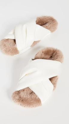 Simone Rocha Cross Strap Slides with Fur Lining