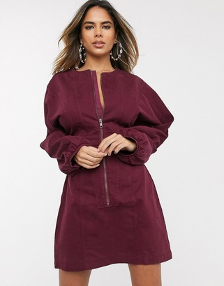 ASOS DESIGN denim seamed mini dress with puff sleeve in burgundy