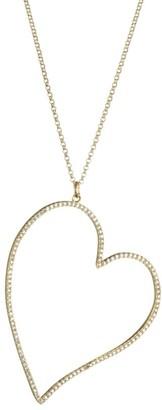Nina Gilin 14K Yellow Gold & Diamond Pave Open Heart Pendant Necklace