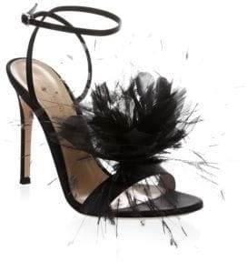 Gianvito Rossi Feather Flower Ankle-Wrap Sandals
