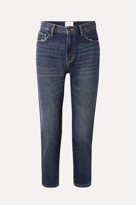 Current/Elliott The Fling Distressed Low-rise Slim Boyfriend Jeans - Dark denim