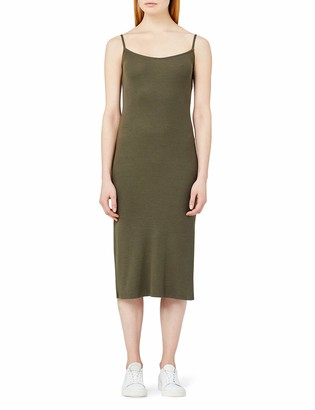 Meraki Amazon Brand Women's Slim Fit Rib Summer Midi Dress