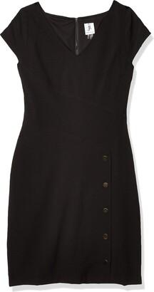 Julia Jordan Women's Cap Sleeve V Neck Side Button Stretch Crepe Sheath Dress