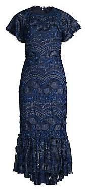 Shoshanna Women's Vinca Embroidered Ruffled Hem Dress
