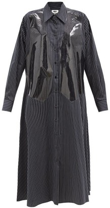MM6 MAISON MARGIELA Vinyl-overlay Pinstriped Cotton Shirtdress - Black