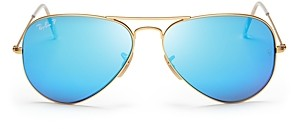 Ray-Ban Unisex Original Polarized Brow Bar Aviator Sunglasses, 58mm