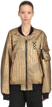Gold Flux Embossed Faux Leather Bomber