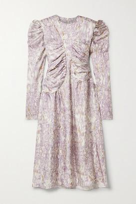 WRIGHT LE CHAPELAIN Romantic Printed Silk-twill Midi Dress - Lilac