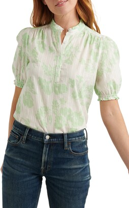 Lucky Brand Puff Sleeve Popover Blouse
