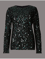 Autograph Sparkly Sequin Long Sleeve T-Shirt