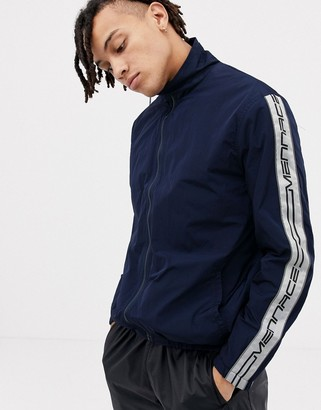 Mennace track jacket with logo side stripes-Navy
