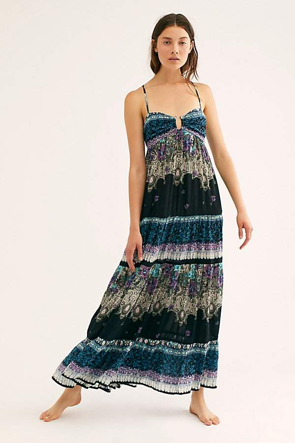 Free People Give A Little Maxi Slip by Intimately at Free People, Black Combo, XS
