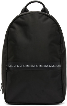 McQ Black Swallow Logo Zip Backpack