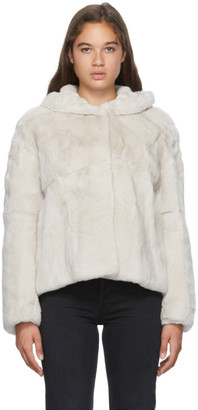 Yves Salomon Off-White Hooded Rex Rabbit Fur Jacket