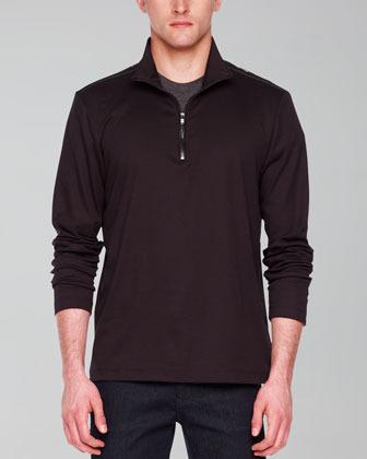 Michael Kors Leather-Trim Jersey Zip Sweater