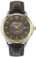 Salvatore Ferragamo Men's 'Time Automatic' Swiss Quartz Stainless Steel and Leather Casual Watch, Color:Brown (Model: FFT030016)