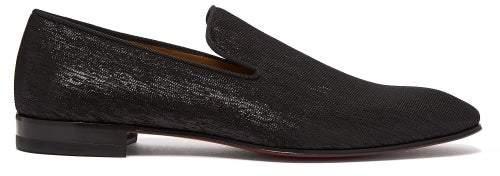 Christian Louboutin Dandelion Metallic Shantung Loafers - Mens - Black