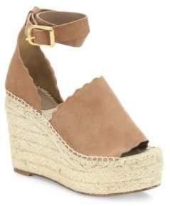 Chloé Lauren Suede Ankle-Strap Espadrille Wedge Sandals