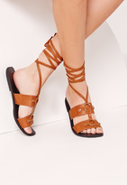 Missguided Ankle Wrap Strap Ring Detail Flat Sandal Tan