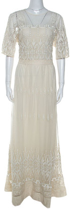 Burberry Cream Lace Short Sleeve Maxi Dress L