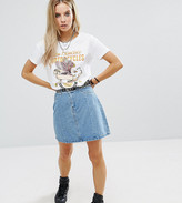 Noisy May Petite Mini Denim A Line Skirt With Frayed Detail